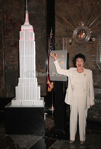 NEW YORK, NY - MAY 12:  Chita Rivera lights the Empire State Building in recognition of AIDS Walk New York in New York, New York on May 12, 2016.  Photo Credit: Rainmaker Photo/MediaPunch
