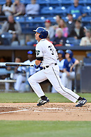 Asheville Tourists first baseman Grant Lavigne (34) swings at a pitch during a game against the Charleston RiverDogs at McCormick Field on April 10, 2019 in Asheville, North Carolina. The  RiverDogs defeated the Tourists 5-3. (Tony Farlow/Four Seam Images)