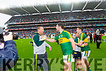 Cian O'Neill Trainer with Bryan Sheehan and Paul Geaney, Kerry after defeating Tyrone in the All Ireland Semi Final at Croke Park on Sunday.
