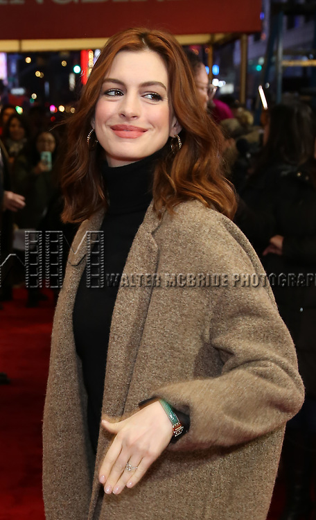 """Anne Hathaway attends the Broadway Opening Night Performance of """"To Kill A Mockingbird"""" on December 13, 2018 at The Shubert Theatre in New York City."""