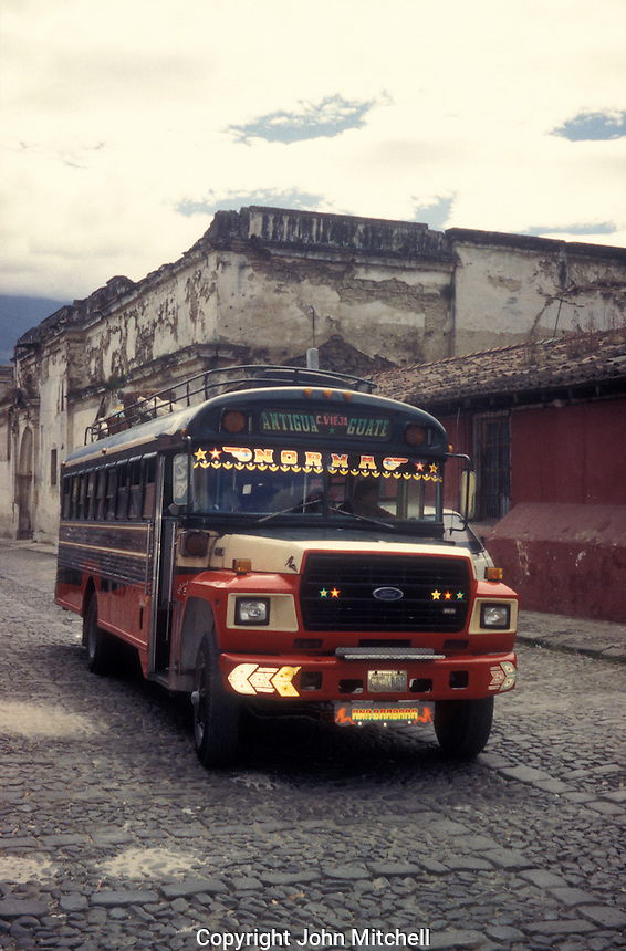 Chicken bus in the Spanish colonial town of Antigua, Guatemala