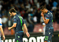 Gonzalo Higuain  and  Faouzi Ghoulan  during Europa League Semi Final first    leg soccer match, between SSC Napoli and  Dinipro   at  the San Paolo   stadium in Naples  Italy , May 07, 2015