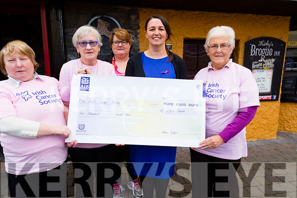 Members of the Tralee Branch of the Irish Cancer Society who presented a cheque of €2,300 to Ellen Kearney on Thursday at Kirby's Brogue inn Tralee, Rita O'Sullivan,Chris and Maura Griffin, Ellen Kearney,and Maureen Roche.