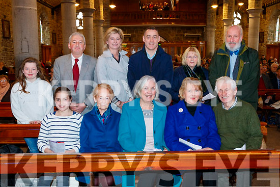 Pictured at the Tralee Credit Union 50th Anniversary Mass, in St. John's Church, on Sunday morning last were front l-r: Ciara Laide, Mary Cotter Margaret Ryle, Anna Brosnan and Tom Lawlor. Back l-r: Kate Sugrue, Sean Roche (Director), Caroline Sugrue, Pa Laide with Eleanor and Richard Bono.