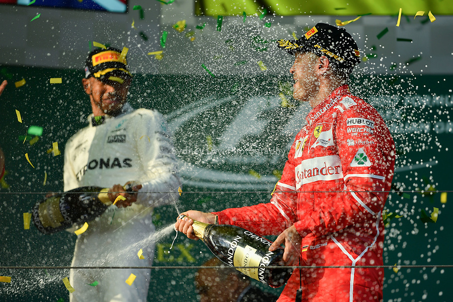 March 26, 2017: Sebastian Vettel (DEU) #5 from the Scuderia Ferrari team celebrates his win at the 2017 Australian Formula One Grand Prix at Albert Park, Melbourne, Australia. Photo Sydney Low