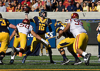 Jared Goff of California passes the ball during NCAA football game against USC at Memorial Stadium in Berkeley, California on November 9th, 2013.   USC defeated California, 62-28.