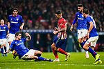 Victor Machin, Vitolo, of Atletico de Madrid (C) competes for the ball with Inigo Martinez of Athletic de Bilbao (L) during the La Liga 2018-19 match between Atletico de Madrid and Athletic de Bilbao at Wanda Metropolitano, on November 10 2018 in Madrid, Spain. Photo by Diego Gouto / Power Sport Images