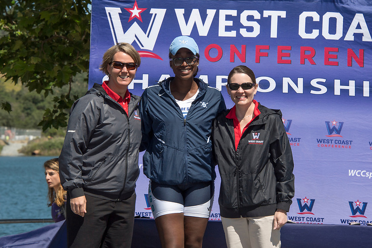 May 13, 2017; Gold River, CA, USA; WCC commissioner Lynn Holzman, WCC rower of the year San Diego Toreros Uche Anyanwu, Gonzaga Bulldogs Peggy Sue Loroz during the WCC Rowing Championships at Lake Natoma.