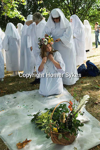 Ancient Order of Druids. Autumn Equinox September 22 Primrose Hill London. Getting ready for ritual.