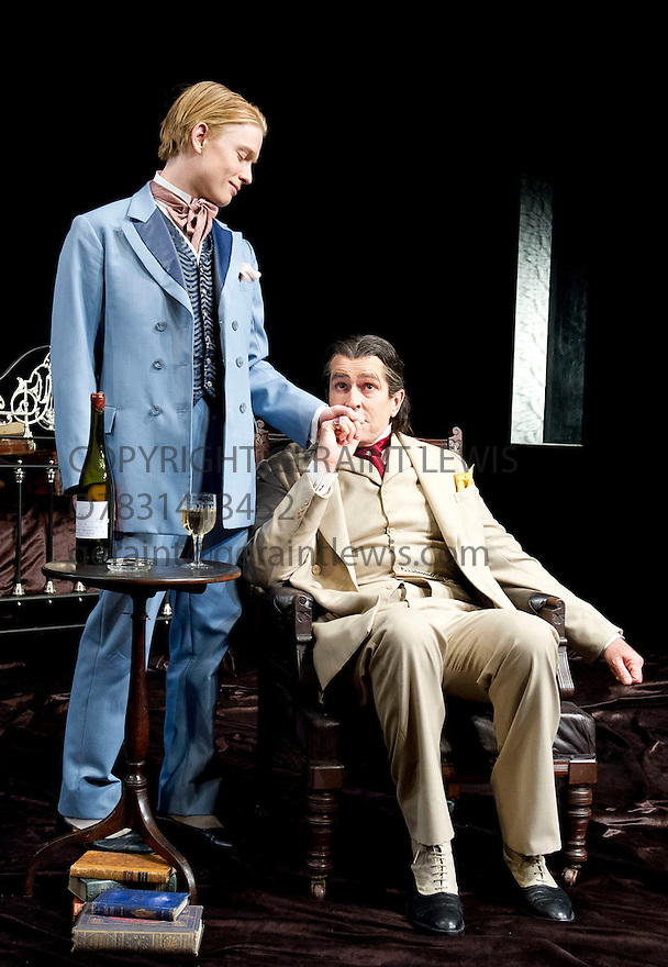 The Judas Kiss by David Hare, directed by Neil Armfield. With  Freddie Fox as Bosie, Rupert Everett as Oscar Wilde. Opens at The Hampstead Theatre on 12/9/12.CREDIT Geraint Lewis