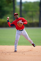 Washington Nationals Khayyan Norfork (15) during practice before a minor league Spring Training game against the Detroit Tigers on March 21, 2016 at Tigertown in Lakeland, Florida.  (Mike Janes/Four Seam Images)