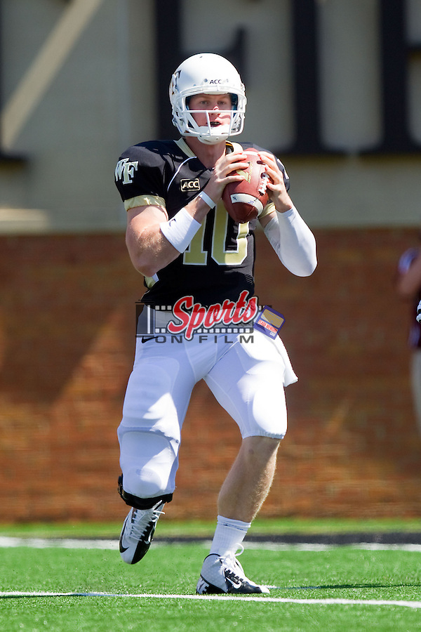 Wake Forest Demon Deacons quarterback Tanner Price (10) looks to pass the ball during first half action against the Louisiana-Monroe Warhawks at BB&T Field on September 14, 2012 in Winston-Salem, North Carolina.  The Warhawks defeated the Demon Deacons 21-19.    (Brian Westerholt/Sports On Film)