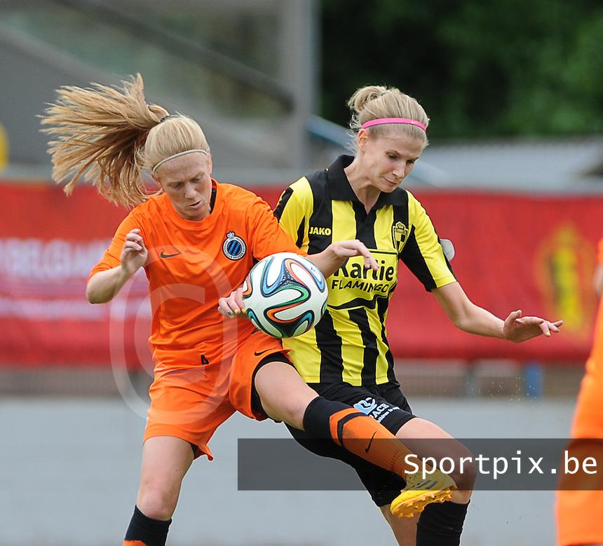 Bekerfinale vrouwen 2015 : Lierse-Club Brugge Vrouwen :<br /> <br /> Duel tussen Silke Demeyere (L) en Justine Vanhaevermaet (R)<br /> <br /> foto VDB / BART VANDENBROUCKE