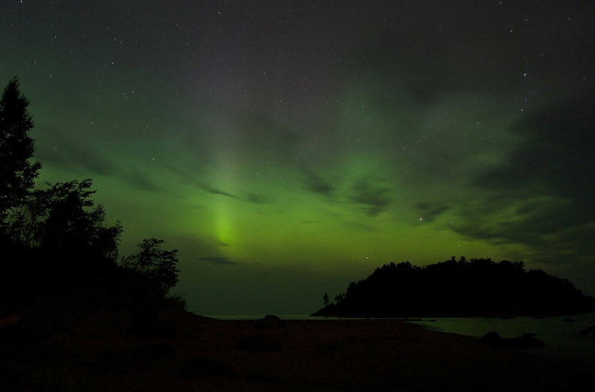 The aurora borealis seen over Lake Superior in Michigan's Upper Peninsula.