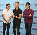 Benj Pasek, Justin Paul and Steven Levenson attends the National Tour Photo Call for 'Dear Evan Hansen' on September 6, 2018 at the New 42nd Street Studios in New York City.