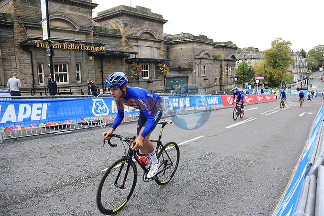 Team Italy takes advantage of free practice on the Harrogate Circuit before the Men Elite Individual Time Trial of the UCI World Championships 2019 running 54km from Northallerton to Harrogate, England. 25th September 2019.<br /> Picture: Eoin Clarke | Cyclefile<br /> <br /> All photos usage must carry mandatory copyright credit (© Cyclefile | Eoin Clarke)