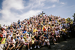 Huge crowds on the Muur in Geraardsbergen during Stage 1 of the 2019 Tour de France running 194.5km from Brussels to Brussels, Belgium. 6th July 2019.<br /> Picture: ASO/Pauline Ballet | Cyclefile<br /> All photos usage must carry mandatory copyright credit (© Cyclefile | ASO/Pauline Ballet)