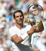 Rafael Nadal (ESP) after winning his match against Dudi Sela (ISR)<br /> <br /> Photographer Rob Newell/CameraSport<br /> <br /> Wimbledon Lawn Tennis Championships - Day 2 - Tuesday 3rd July 2018 -  All England Lawn Tennis and Croquet Club - Wimbledon - London - England<br /> <br /> World Copyright &not;&copy; 2017 CameraSport. All rights reserved. 43 Linden Ave. Countesthorpe. Leicester. England. LE8 5PG - Tel: +44 (0) 116 277 4147 - admin@camerasport.com - www.camerasport.com
