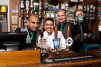 Dhiran Mehta (left) sister Pooja and Ben Spray of the Star pub in Beeston, Nottingham