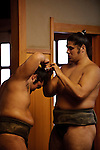 September 8, 2010, Tokyo, Japan - Sumo wrestlers train themselves at the Dewanoumi sumo stable. (Photo by Tony McNicol/AFLO)