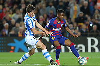 7th March 2020; Camp Nou, Barcelona, Catalonia, Spain; La Liga Football, Barcelona versus Real Sociedad;  Andu Fati of Barca plays the ball into attack