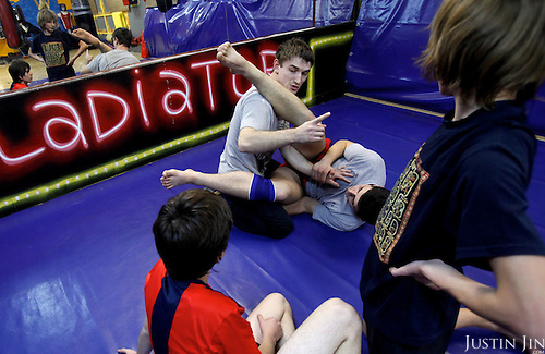 Wrestling class for young people in Moscow.