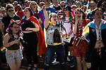 © Joel Goodman - 07973 332324 - all rights reserved . 24/08/2019. Manchester, UK.  The watching crowd . The 2019 Manchester Gay Pride parade through the city centre , with a Space and Science Fiction theme . Manchester's Gay Pride festival , which is the largest of its type in Europe , celebrates LGBTQ+ life . Photo credit: Joel Goodman/LNP