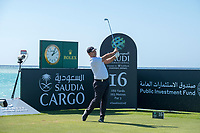 Patrick Reed (USA) on the 16th tee during the Pro-Am at the Saudi International powered by Softbank Investment Advisers, Royal Greens G&CC, King Abdullah Economic City,  Saudi Arabia. 29/01/2020<br /> Picture: Golffile | Fran Caffrey<br /> <br /> <br /> All photo usage must carry mandatory copyright credit (© Golffile | Fran Caffrey)