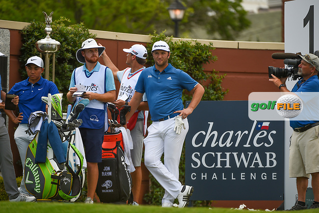 Jon Rahm (ESP) looks over his tee shot on 1 during round 1 of the 2019 Charles Schwab Challenge, Colonial Country Club, Ft. Worth, Texas,  USA. 5/23/2019.<br /> Picture: Golffile | Ken Murray<br /> <br /> All photo usage must carry mandatory copyright credit (© Golffile | Ken Murray)