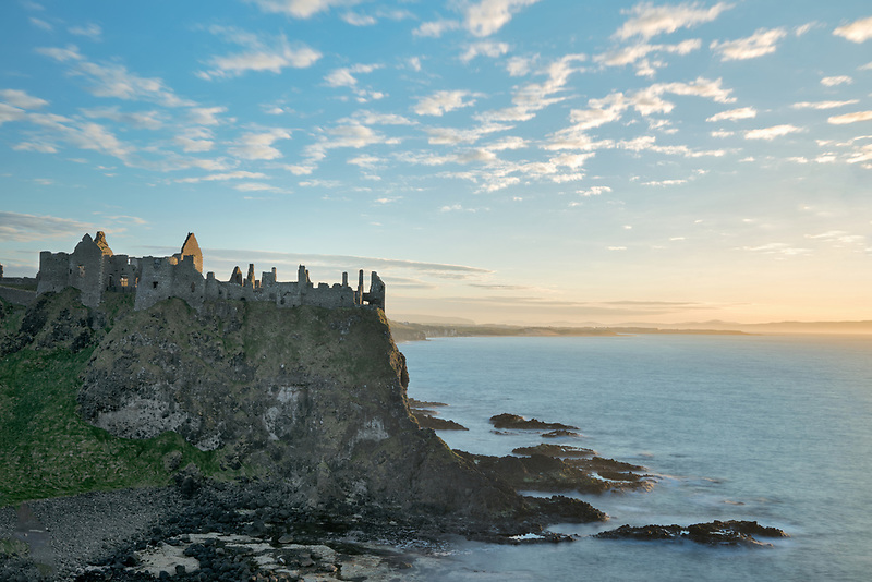 Dunluce Castle,at sunset. Northern Ireland.