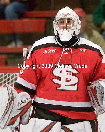 Alex Petizian (St. Lawrence - 30) - The St. Lawrence University Saints defeated the Harvard University Crimson 3-2 on Friday, November 20, 2009, at the Bright Hockey Center in Cambridge, Massachusetts.