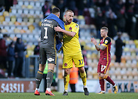 Fleetwood Town's Paddy Madden embraces Bradford City's Richard O'Donnell at the final whistle<br /> <br /> Photographer David Shipman/CameraSport<br /> <br /> The EFL Sky Bet League One - Bradford City v Fleetwood Town - Saturday 9th February 2019 - Valley Parade - Bradford<br /> <br /> World Copyright &copy; 2019 CameraSport. All rights reserved. 43 Linden Ave. Countesthorpe. Leicester. England. LE8 5PG - Tel: +44 (0) 116 277 4147 - admin@camerasport.com - www.camerasport.com