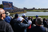 Big screen at the 16th  during Saturday's Fourballs, at the Ryder Cup, Le Golf National, Île-de-France, France. 29/09/2018.<br /> Picture David Lloyd / Golffile.ie<br /> <br /> All photo usage must carry mandatory copyright credit (© Golffile | David Lloyd)