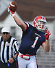 Kyle Acquavella #1, MacArthur quarterback, throws a pass during a Nassau County Conference II varsity football game against host Mepham High School on Saturday, Sept. 9, 2017. Mepham won by a score of 35-34.