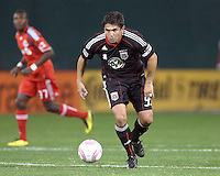 Jaime Moreno #99 of D.C. United on the prowl during an MLS match against Toronto FC that was the final appearance of D.C. United's Jaime Moreno at RFK Stadium, in Washington D.C. on October 23, 2010. Toronto won 3-2.