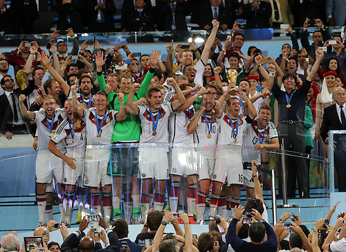 13.07.2014. Rio de Janeiro, Brazil. World Cup Final. Germany versus Argentina. German players celebrate with Jules Rimet trophy
