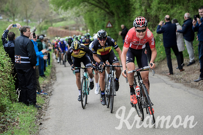 Tiesj Benoot (BEL/Lotto-Soudal) pulling at the front and setting the pace in the race finale despite a serious earlier crash<br /> <br /> 52nd Amstel Gold Race (1.UWT)<br /> 1 Day Race: Maastricht &rsaquo; Berg en Terblijt (264km)