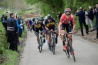 Tiesj Benoot (BEL/Lotto-Soudal) pulling at the front and setting the pace in the race finale despite a serious earlier crash<br /> <br /> 52nd Amstel Gold Race (1.UWT)<br /> 1 Day Race: Maastricht › Berg en Terblijt (264km)