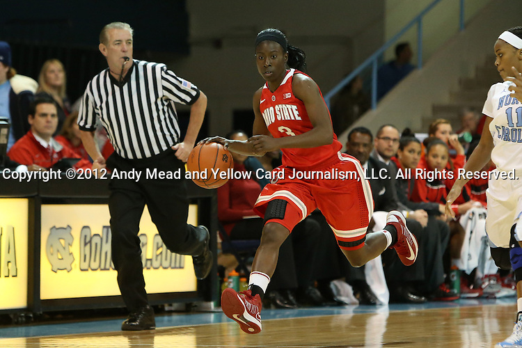 28 November 2012: Ohio State's Amber Stokes. The University of North Carolina Tar Heels played the Ohio State University Buckeyes at Carmichael Arena in Chapel Hill, North Carolina in an NCAA Division I Women's Basketball game. UNC won the game 57-54.