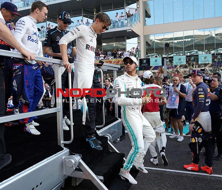 01.12.2019, Yas Marina Circuit, Abu Dhabi, FORMULA 1 ETIHAD AIRWAYS ABU DHABI GRAND PRIX 2019<br />, im Bild<br />George Russel (GBR#63), Rokit Williams Racing, Lewis Hamilton (GB#44), Mercedes-AMG Petronas Motorsport, Antonio Giovinazzi (ITA#99), Alfa Romeo Racing, Max Verstappen (NEL#33), Aston Martin Red Bull Racing<br /> <br /> Foto © nordphoto / Bratic