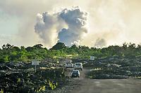 Smoke from lava falling into the ocean, Puna, Big Island, Hawaii, USA