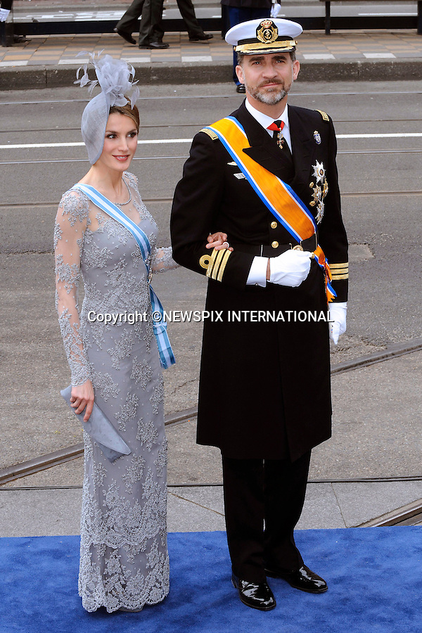"""30.04.2013; Amsterdam: KING WILLEM-ALEXANDER INAUGURATION.CROWN PRINCE FELIPE AND PRINCESS LETIZIA OF SPAIN.attend King Willem-Alexander's inauguration at Nieuwe Kerk, Amsterdam, The Netherlands, .Mandatory Credit Photos: ©NEWSPIX INTERNATIONAL..**ALL FEES PAYABLE TO: """"NEWSPIX INTERNATIONAL""""**..PHOTO CREDIT MANDATORY!!: NEWSPIX INTERNATIONAL(Failure to credit will incur a surcharge of 100% of reproduction fees)..IMMEDIATE CONFIRMATION OF USAGE REQUIRED:.Newspix International, 31 Chinnery Hill, Bishop's Stortford, ENGLAND CM23 3PS.Tel:+441279 324672  ; Fax: +441279656877.Mobile:  0777568 1153.e-mail: info@newspixinternational.co.uk"""