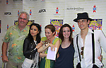 """Michael Mulheren, T.V. Carpio, Isabel Keating, Jennifer Damiano, Reeve Carney - all in Spiderman attend Broadway Barks Lucky 13th Annual Adopt-a-thon - A """"Pawpular"""" Star-studded dog and cat adopt-a-thon on July 9, 2011 in Shubert Alley, New York City, New York with Bernadette Peters and Mary Tyler Moore as hosts.  (Photo by Sue Coflin/Max Photos)"""