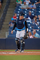 Tampa Tarpons catcher Jason Lopez during a Florida State League game against the Jupiter Hammerheads on July 26, 2019 at George M. Steinbrenner Field in Tampa, Florida.  Tampa defeated Jupiter 4-3.  (Mike Janes/Four Seam Images)