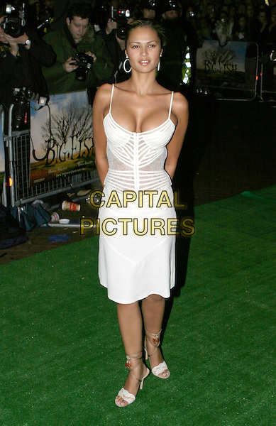 GABRIELLE RICHENS.Big Fish Premiere, Leicester Square.cleavage, white dress, full length, full-length.www.capitalpictures.com.sales@capitalpictures.com.© Capital Pictures.
