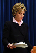 Washington, DC - December 1, 2003 -- United States Senator Hillary Rodham Clinton (Democrat of New York) looks over her notes as she prepares to brief reporters on her recent trip to Afghanistan and Iraq in the United States Capitol in Washington, DC on December 1, 2003..Credit: Ron Sachs / CNP
