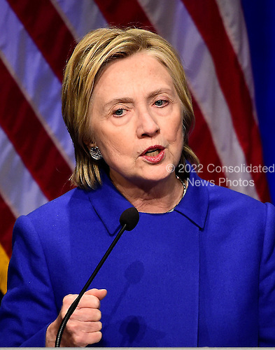 Democratic Presidential candidate Hillary Clinton makes remarks at the Children's Defense Fund Beat the Odds Celebration at the Newseum in Washington, DC on Wednesday, November 16, 2016.  This is Secretary Clinton's first public appearance since she conceded the election to Donald Trump.<br /> Credit: Ron Sachs / CNP<br /> (RESTRICTION: NO New York or New Jersey Newspapers or newspapers within a 75 mile radius of New York City)