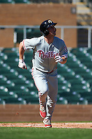 Glendale Desert Dogs outfielder Aaron Brown (31) runs to first during an Arizona Fall League game against the Surprise Saguaros on October 23, 2015 at Salt River Fields at Talking Stick in Scottsdale, Arizona.  Glendale defeated Surprise 9-6.  (Mike Janes/Four Seam Images)