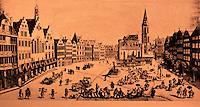Frankfurt: Romerberg, engraving. Circa 1742. Reference only.