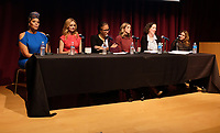 WEST HOLLYWOOD, CA - NOVEMBER 28: Tracy 'Twinkie' Bird, Heather Graham, Kathleen Tarr, Rosette Laursen, Cynthia Bamforth, Cathy Schulman, at Women In Film Speaker Series Presents Sexual & Gender Abuse in the Workplace at The West Hollywood Library in West Hollywood, California on November 28, 2017. Credit: Faye Sadou/MediaPunch /NortePhoto.com NORTEPOTOMEXICO